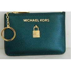 Michael Kors Adelde Deep Teal Leather Coin Pouch