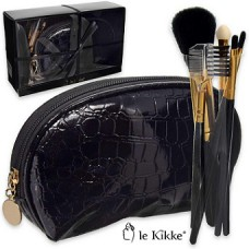 Le Kikke Makeup Brush Set with Black Pouch Croc