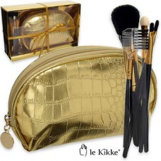 Le Kikke Makeup Brush Set with Gold Pouch Croc