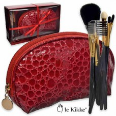 Le Kikke Makeup Brush Set with Red Pouch Croc