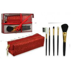 Le Kikke Make up Brush Set with Red Pouch Glitter